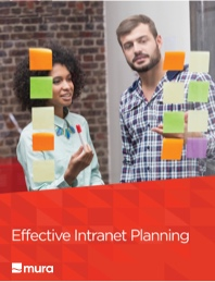 "Free whitepaper cover page showing two content marketers titled ""Effective Intranet Planning""."
