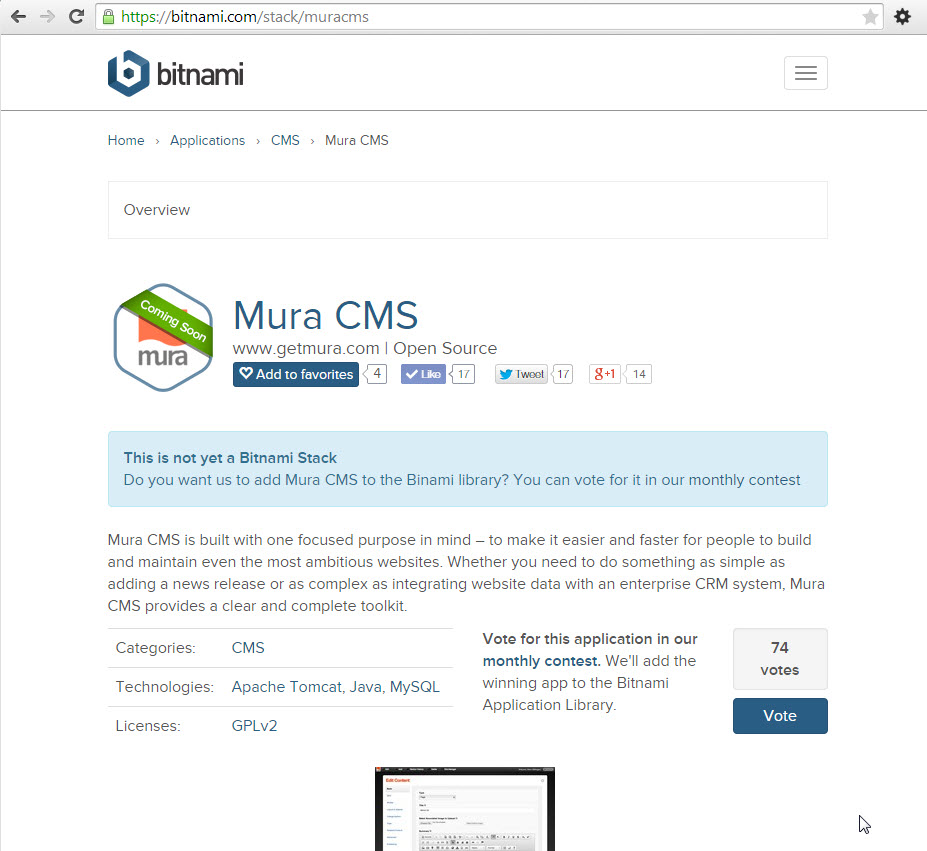Help get Mura CMS packaged by Bitnami !